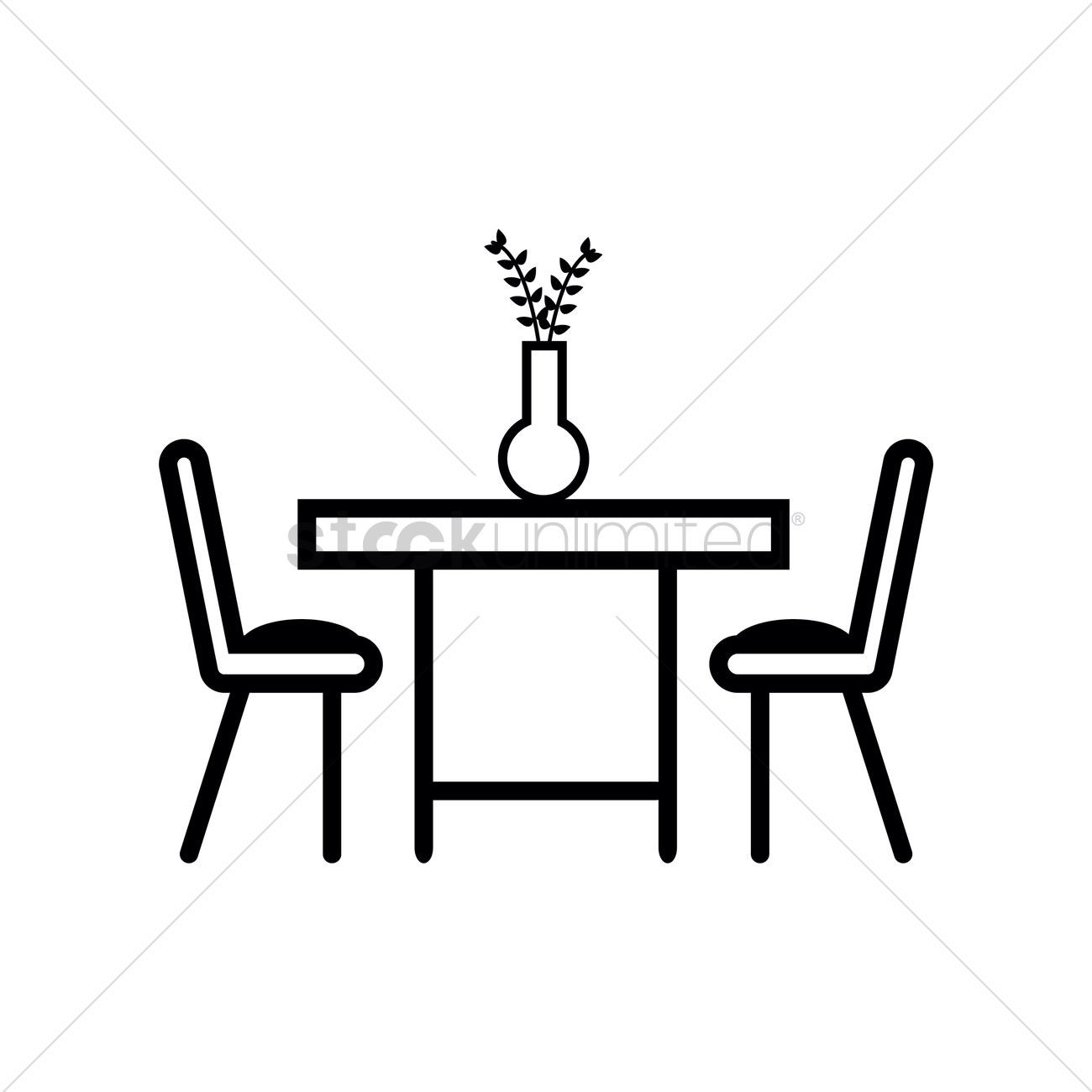 Dining Table With Two Chairs Vector Graphic