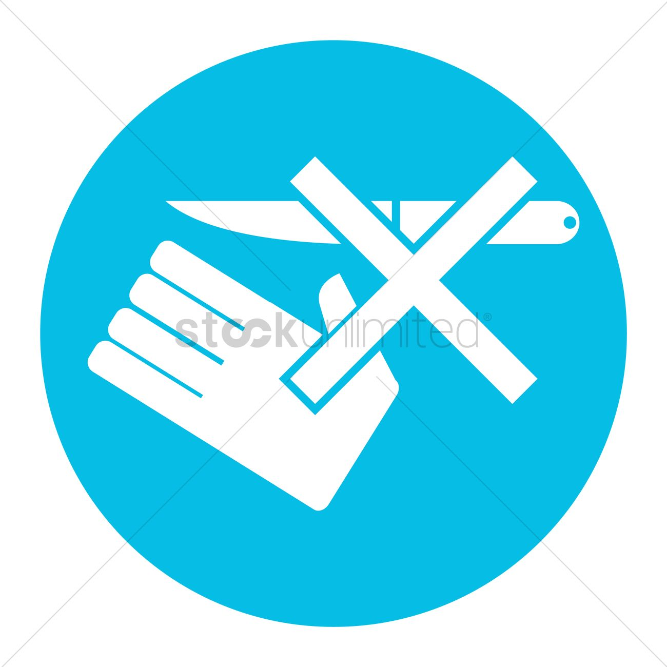 Dont Use Knife Without Wearing Gloves Vector Image 1516465