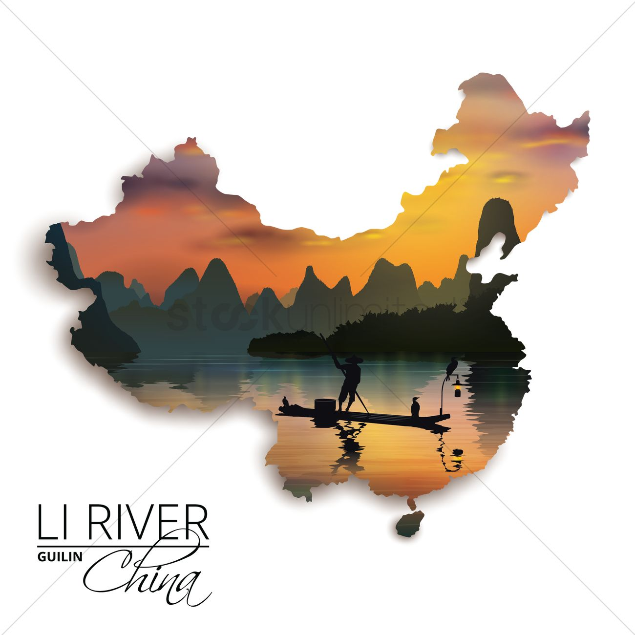 Double exposure of china map and li river Vector Image 1607577