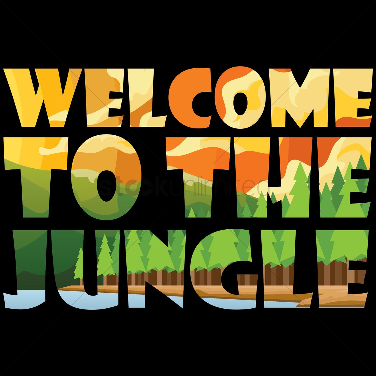double exposure of word welcome to the jungle vector image free clipart ocean animals free ocean clip art for kids