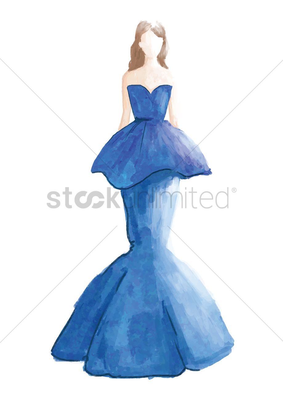 Fashion Model In Elegant Dress Sketch Vector Image 2000633 Stockunlimited