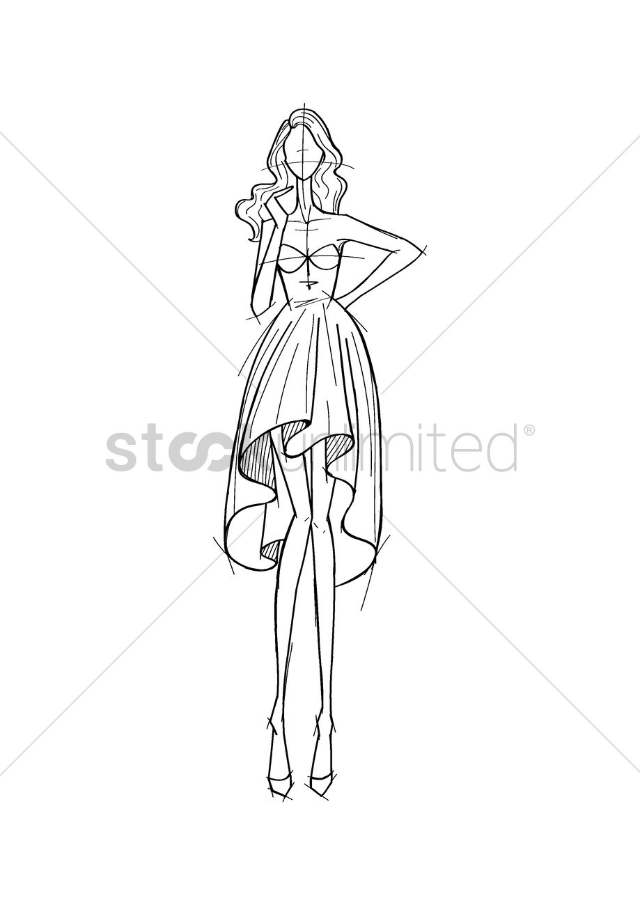 fashion model sketch vector image 2002985 stockunlimited
