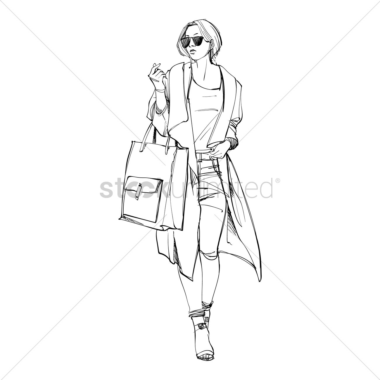 fashion model sketch vector image 2003077 stockunlimited