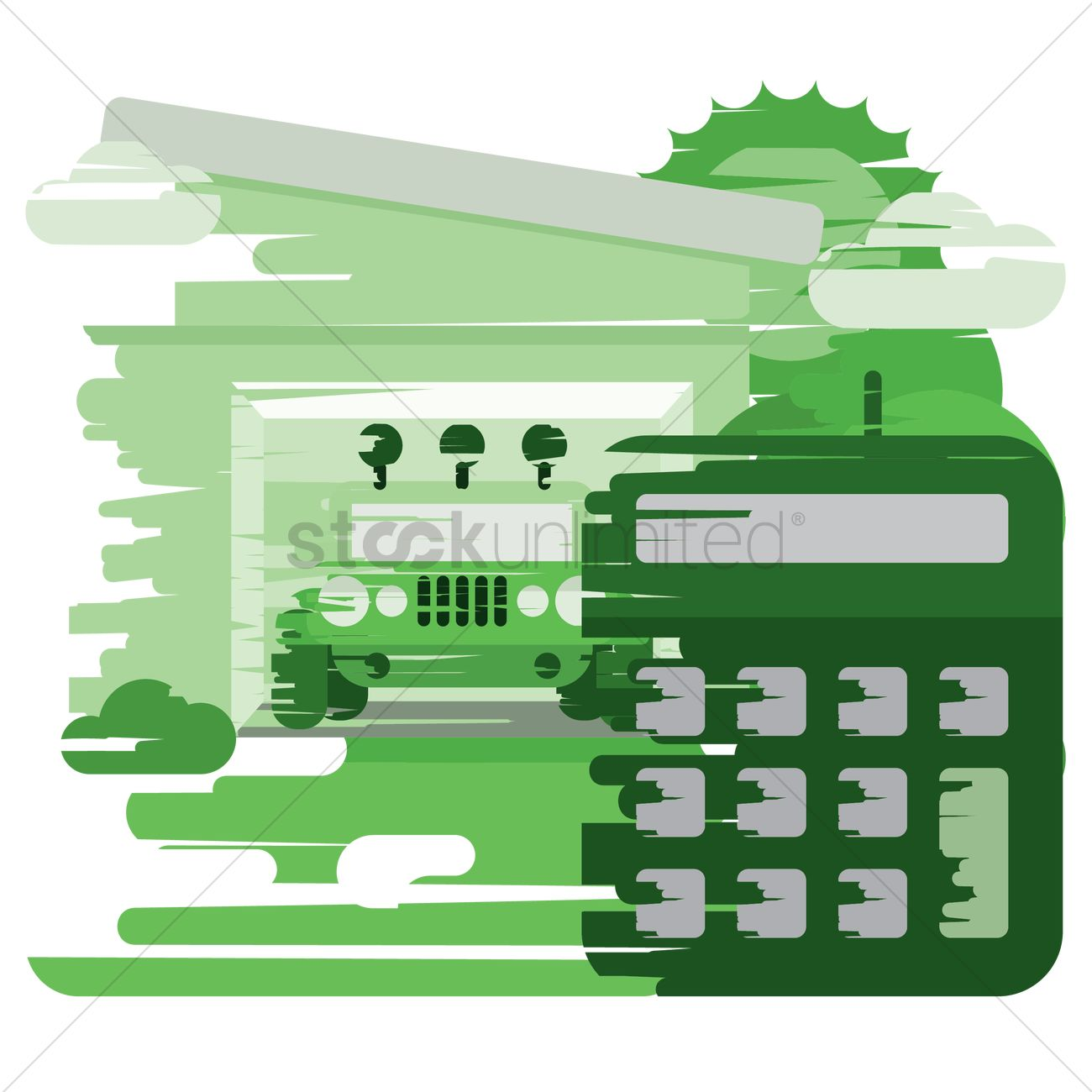 garage with calculator vector image 1397009 stockunlimited