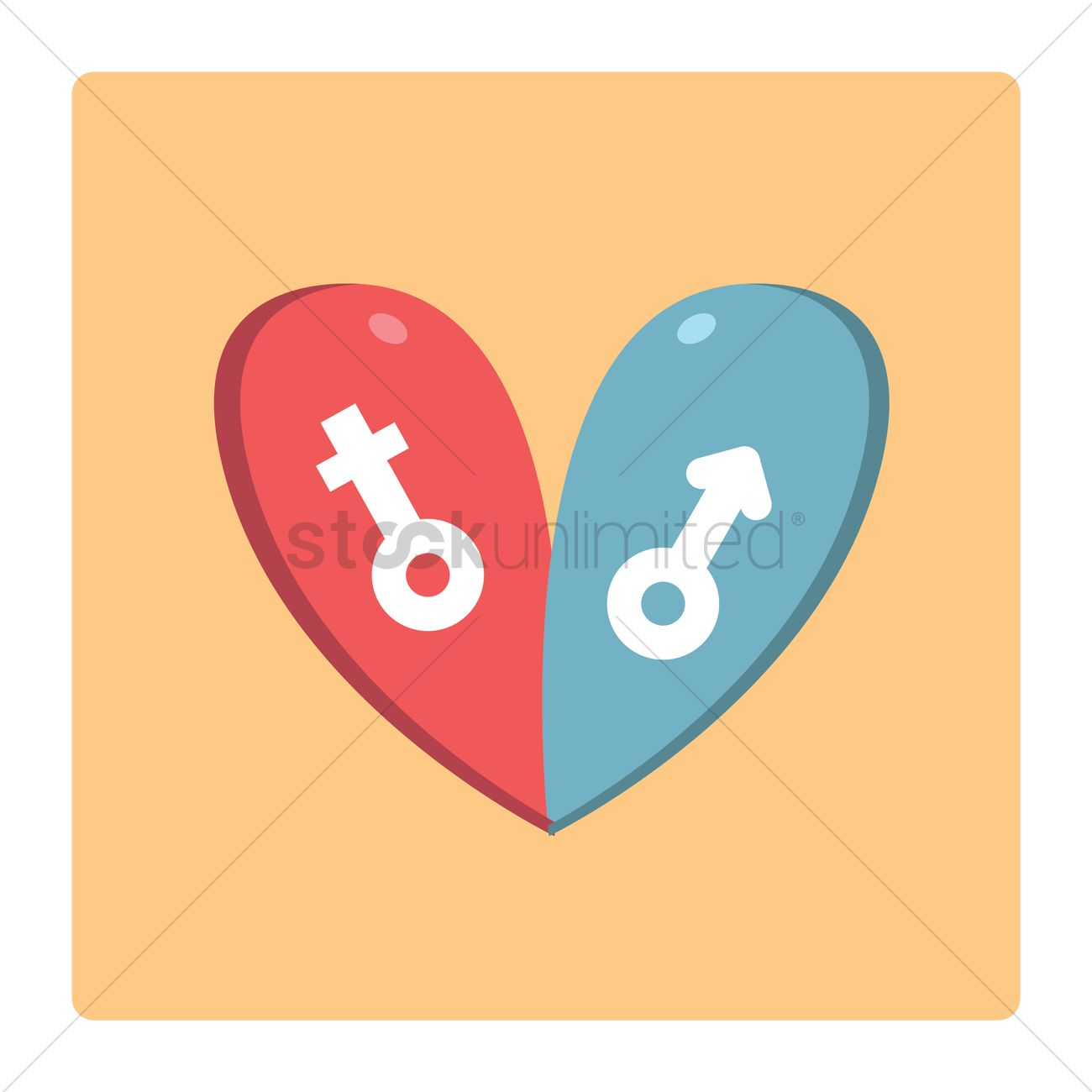 Gender Symbols In A Heart Vector Image 1334073 Stockunlimited