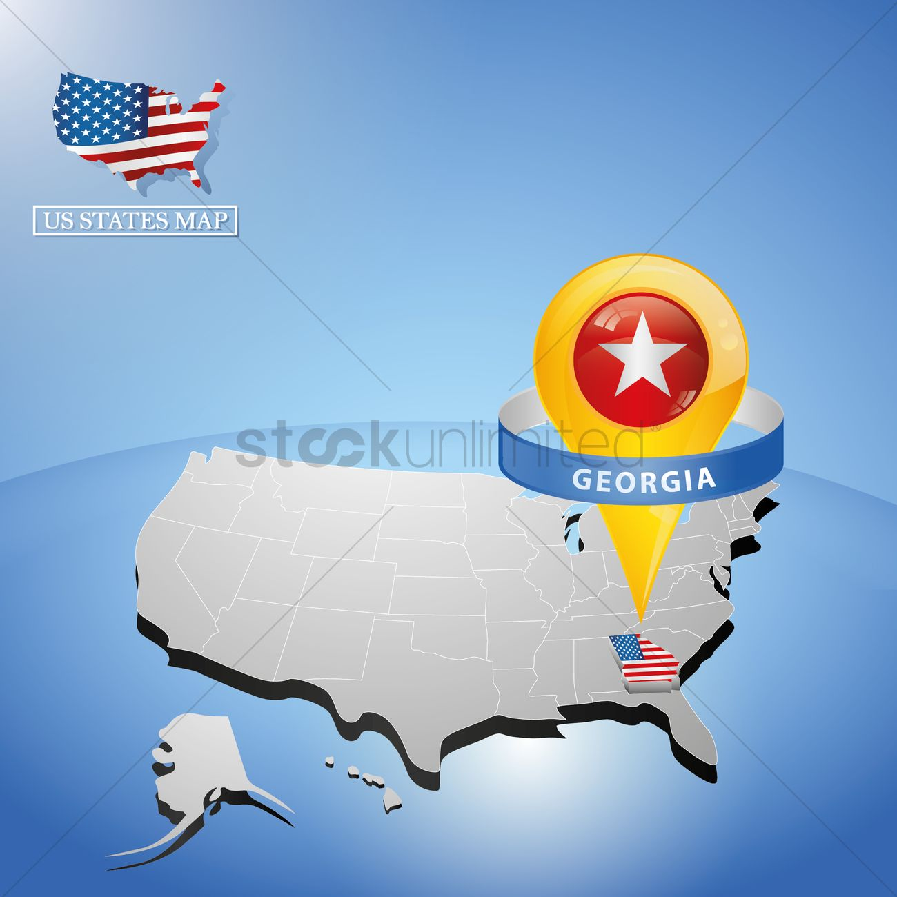 Georgia state on map of usa Vector Image - 1534117 ... on georgia on map of asia, georgia on us map, georgia on europe map,