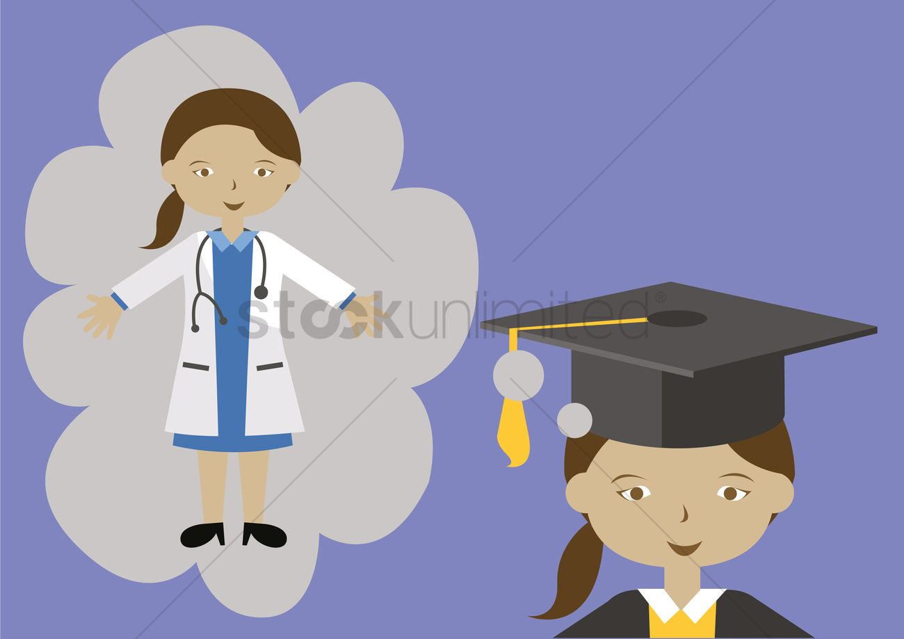 Girl Dreaming Of Being A Doctor Vector Graphic
