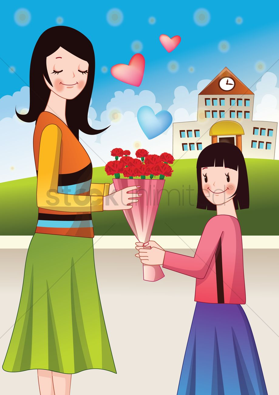 girl giving a flower bouquet to mother vector image 1518373