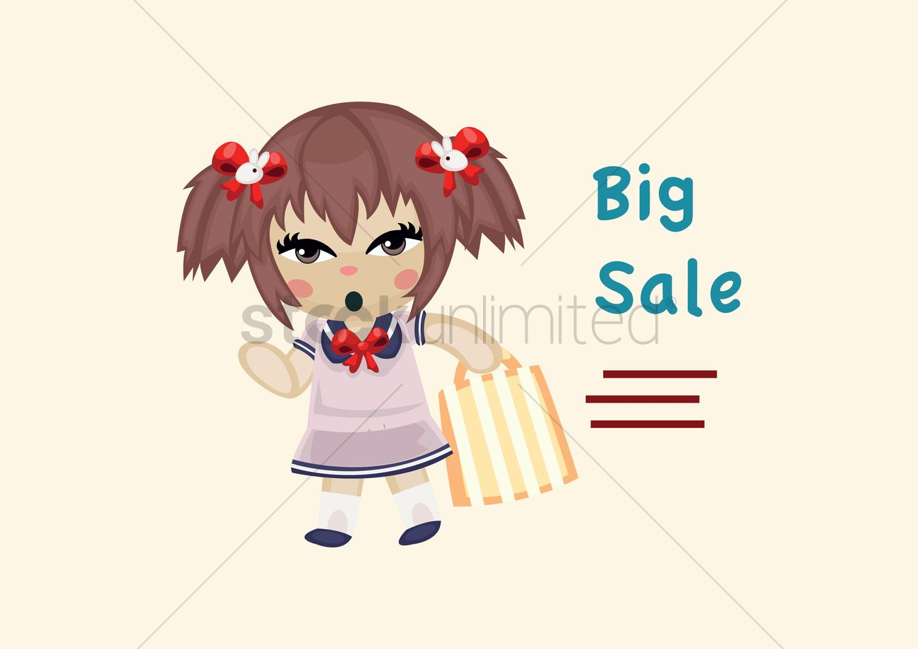 Free Girl Going Shopping Vector Graphic