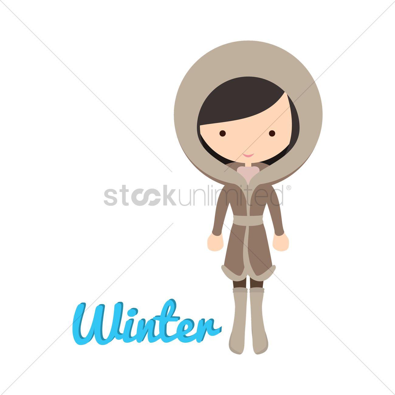 e001ffe96edc Girl s fashion in winter Vector Image - 1482197