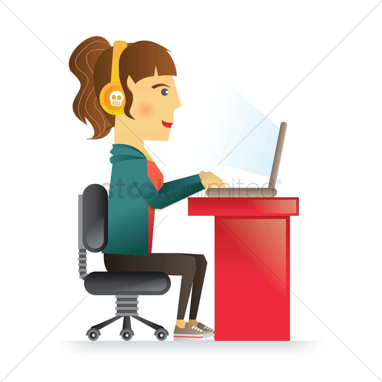Girl Surfing Internet Vector Image 1410401 Stockunlimited