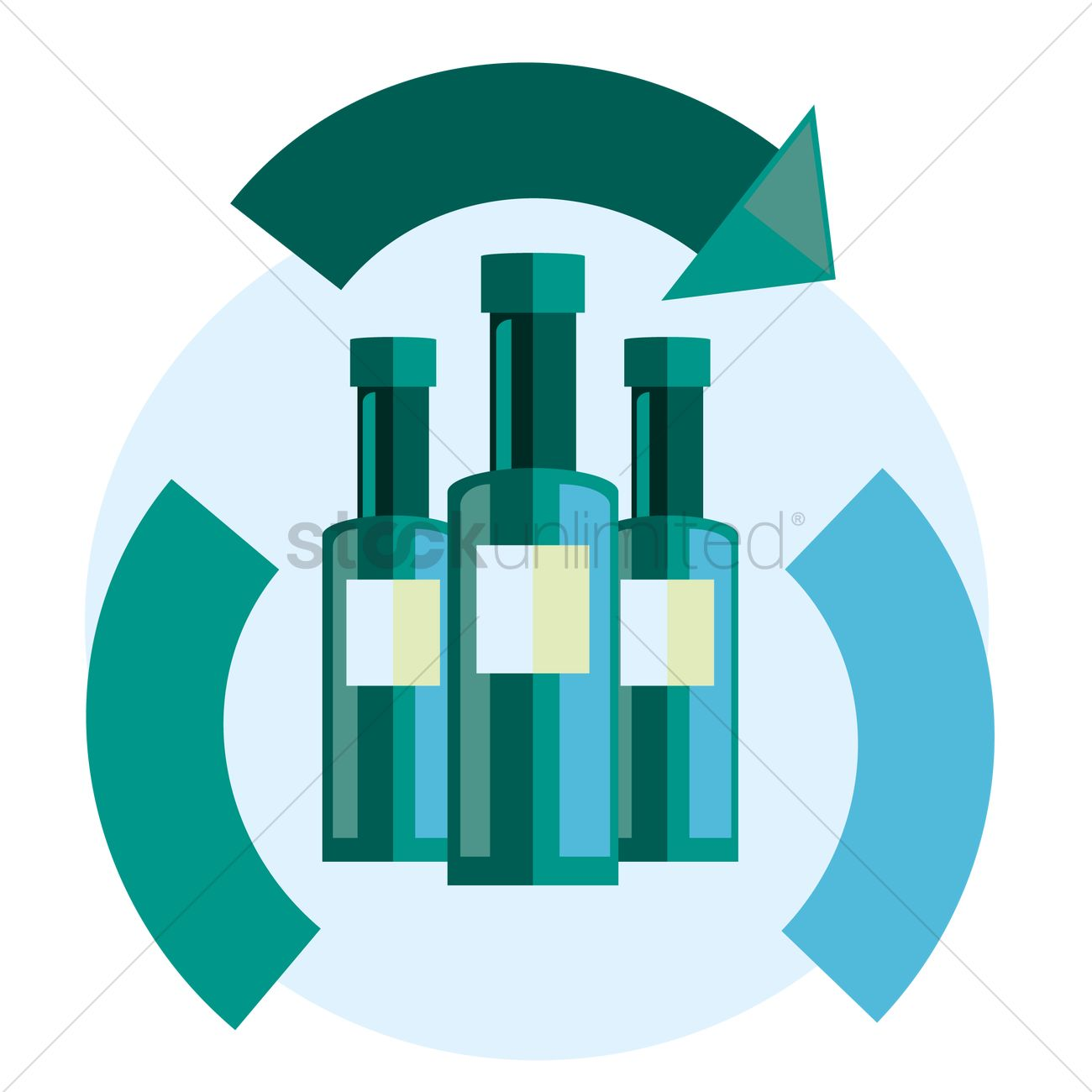 Free Glass Bottles And Recycle Symbol Vector Image 1262057
