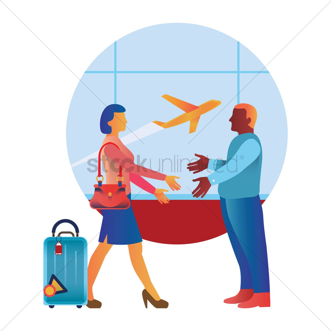 greeting in an airport vector image 1873693 stockunlimited