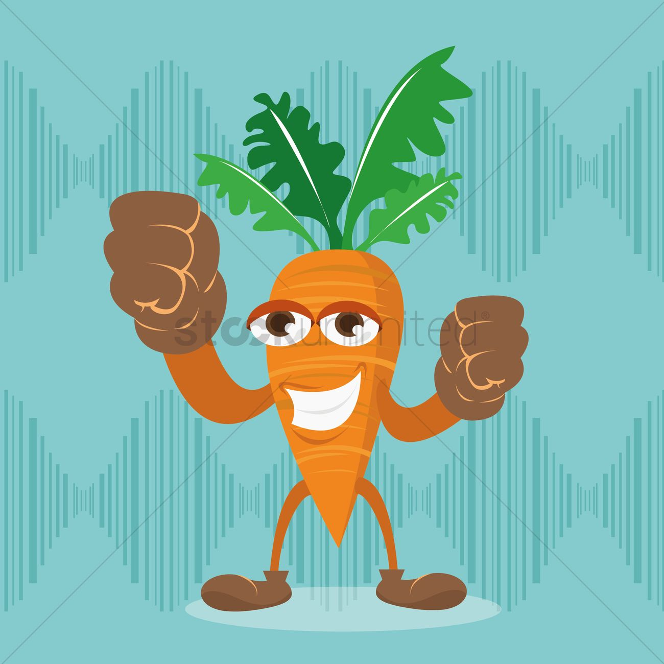 Grinning Carrot Cartoon With Clenched Fist Vector Image 1427421
