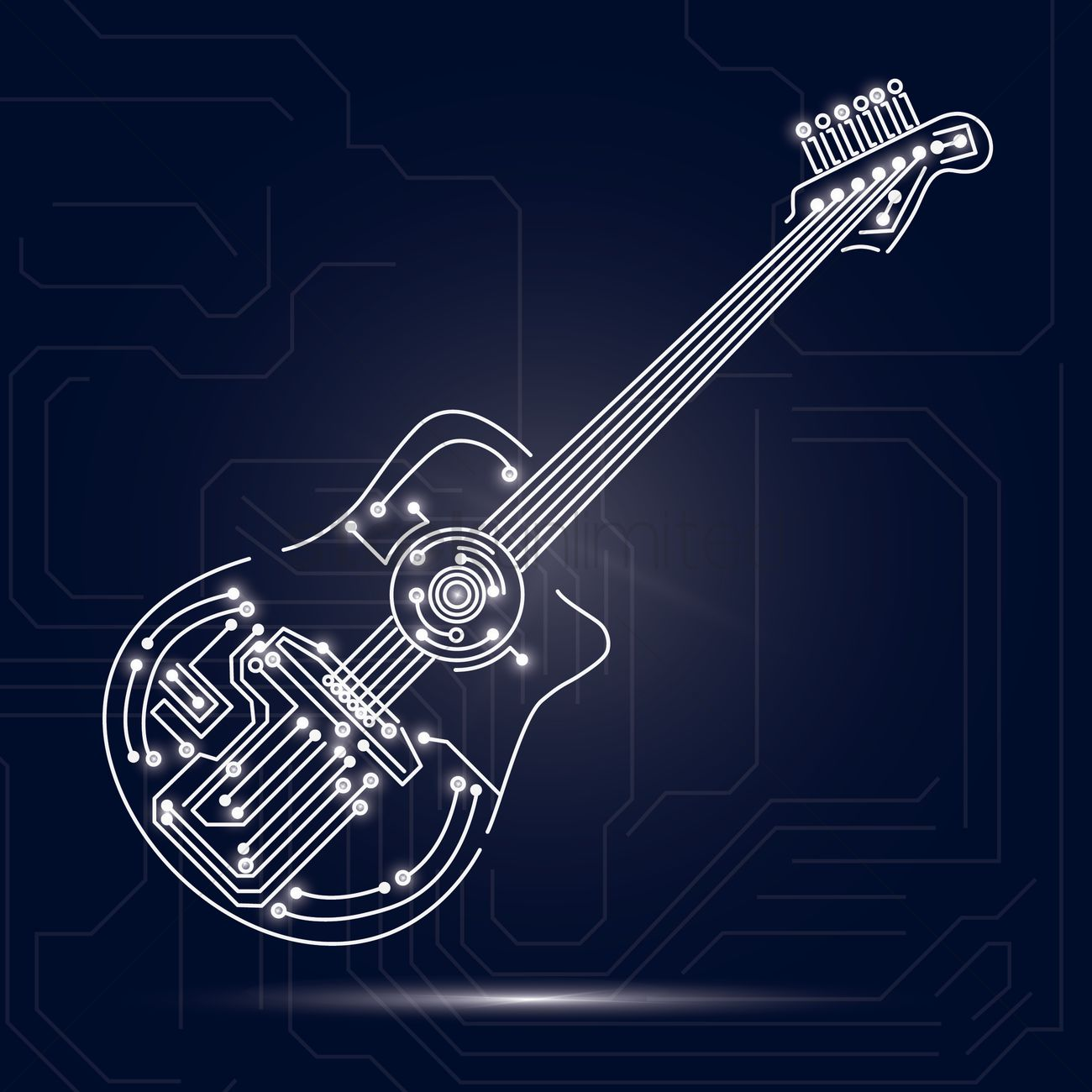Circuit Design Background Board Designer Guitar On Vector Image 1646945