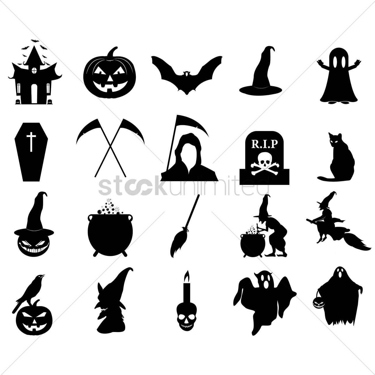 Halloween silhouette icons Vector Image - 1483369 | StockUnlimited