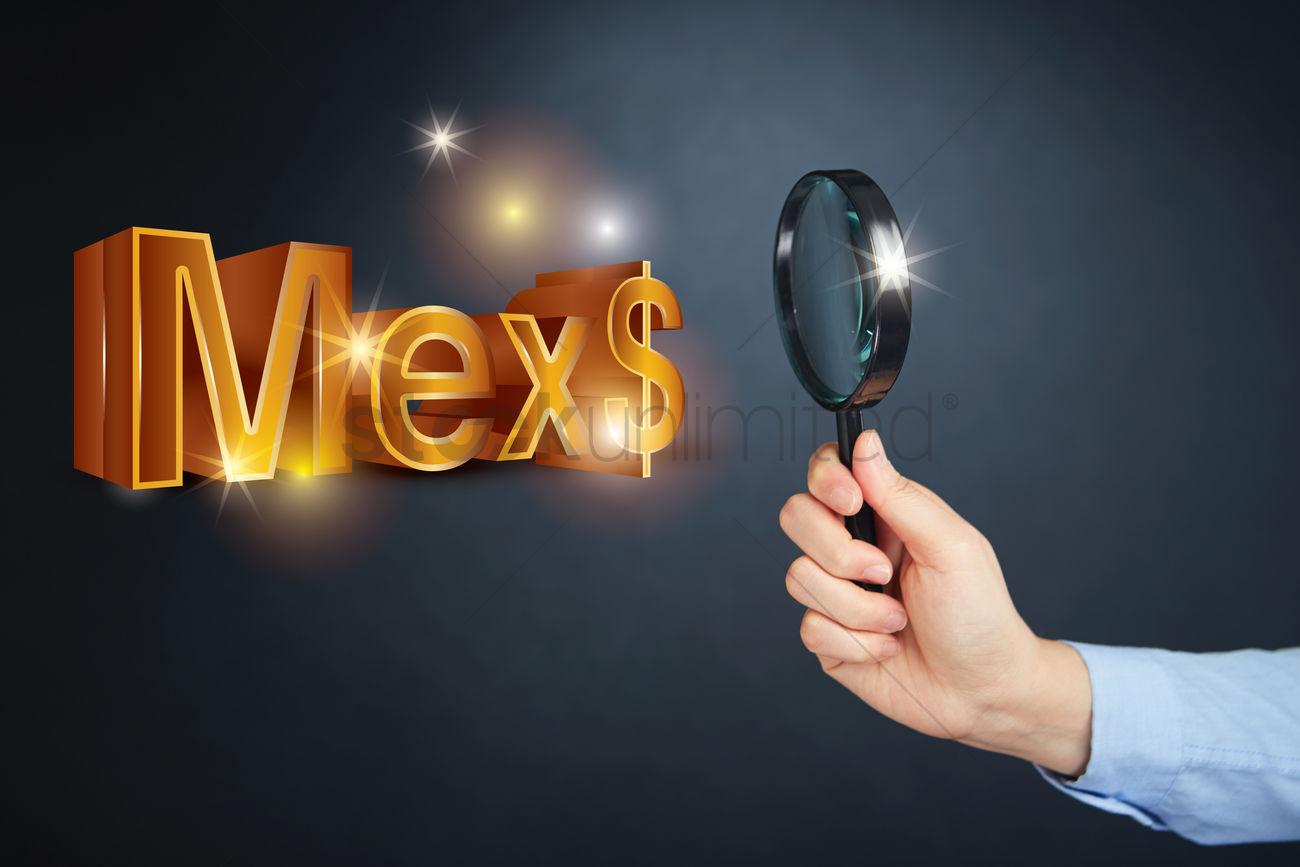 Hand Holding Magnifying Glass With Mexican Peso Currency Symbol