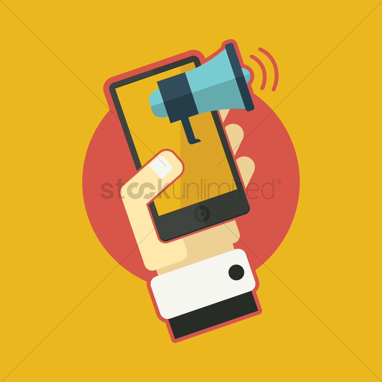 hand holding mobile phone with loudspeaker vector image 1301365 stockunlimited stockunlimited