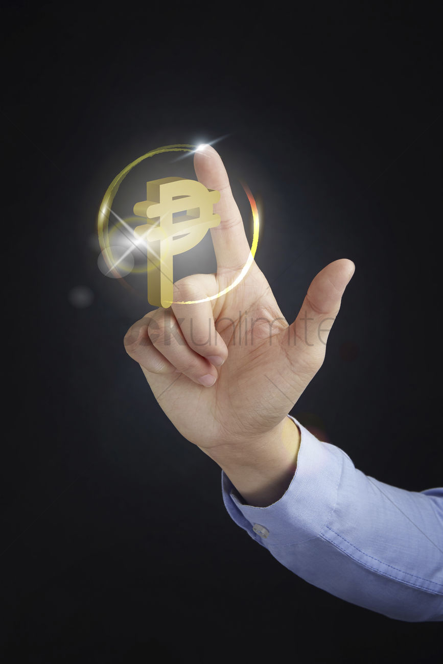 Hand Presenting Cuban Peso Currency Symbol Concept Stock Photo