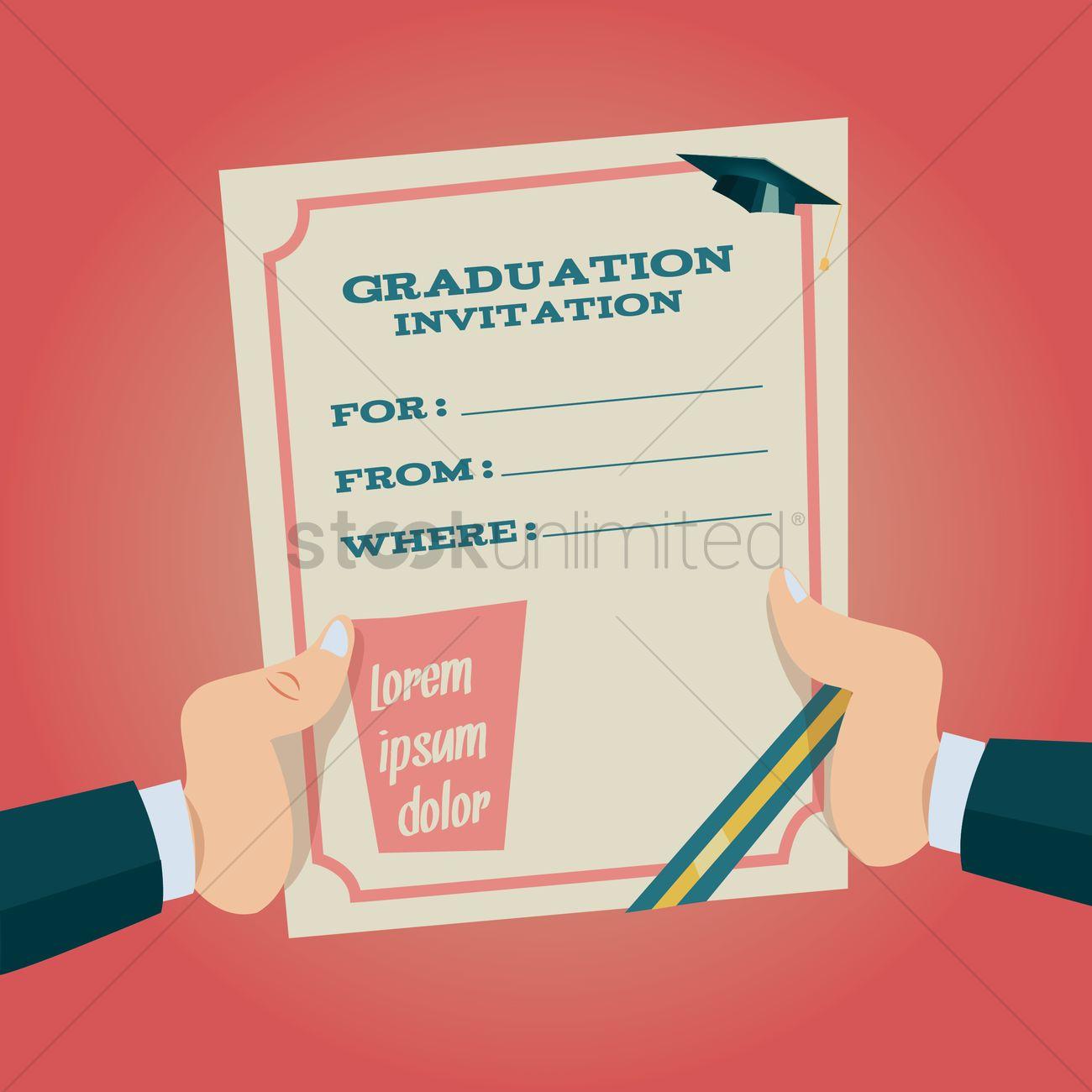 Hands holding graduation invitation Vector Image - 1514793 ...