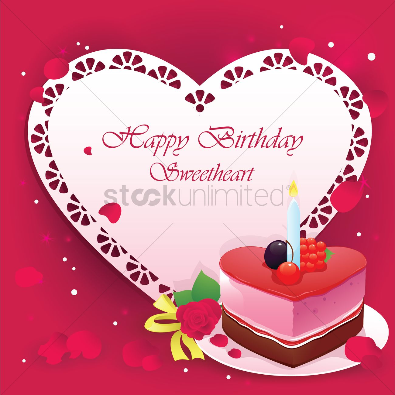 Happy Birthday Sweetheart Vector Image 1246057 Stockunlimited