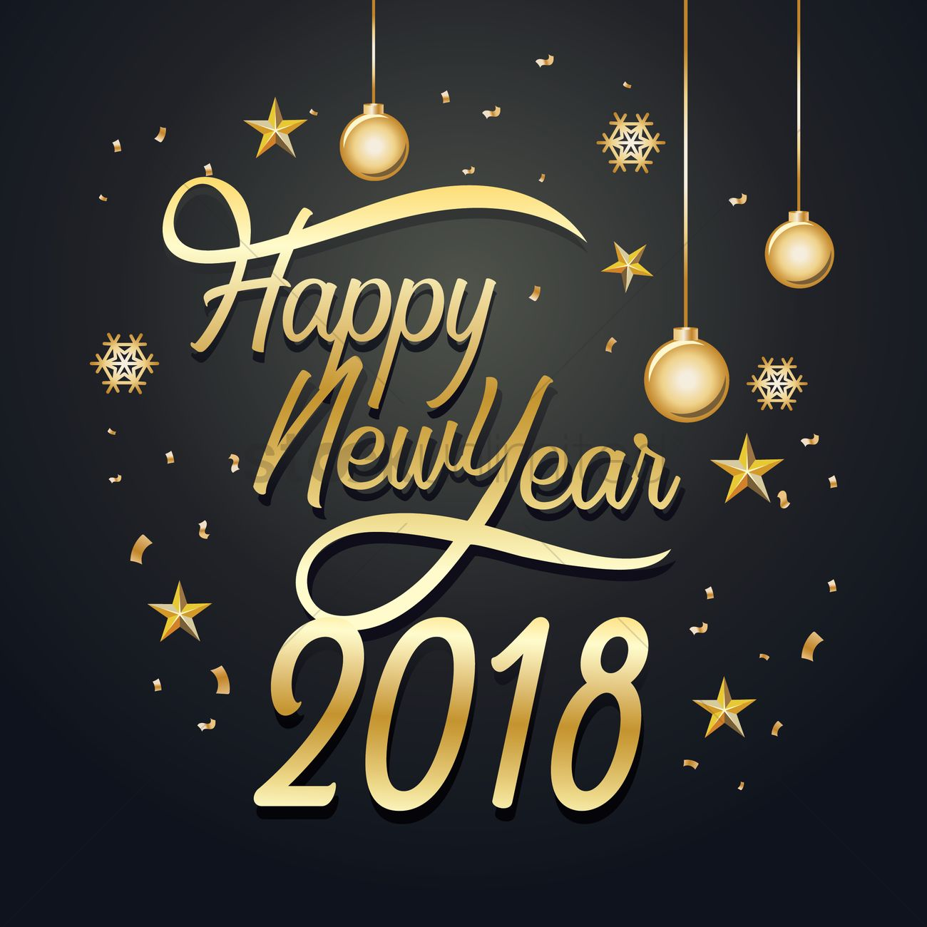 happy new year 2018 vector graphic