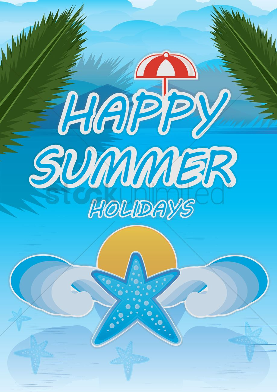 Happy Summer Holidays Poster Vector Graphic