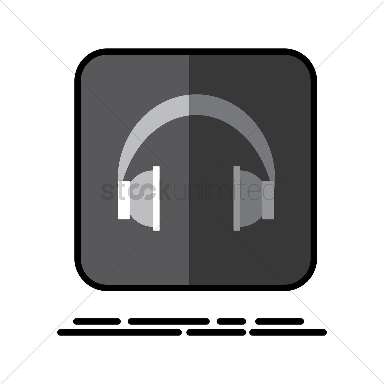Headphones button Vector Image - 2033041 | StockUnlimited