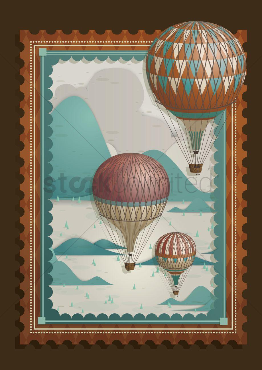 Hot Air Balloon Frame Vector Image 1481757 Stockunlimited