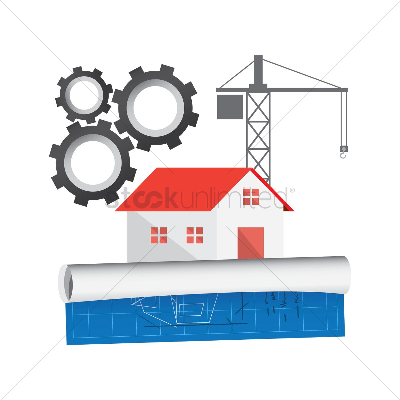 House construction and blueprint vector image 1564757 stockunlimited house construction and blueprint vector graphic malvernweather Images