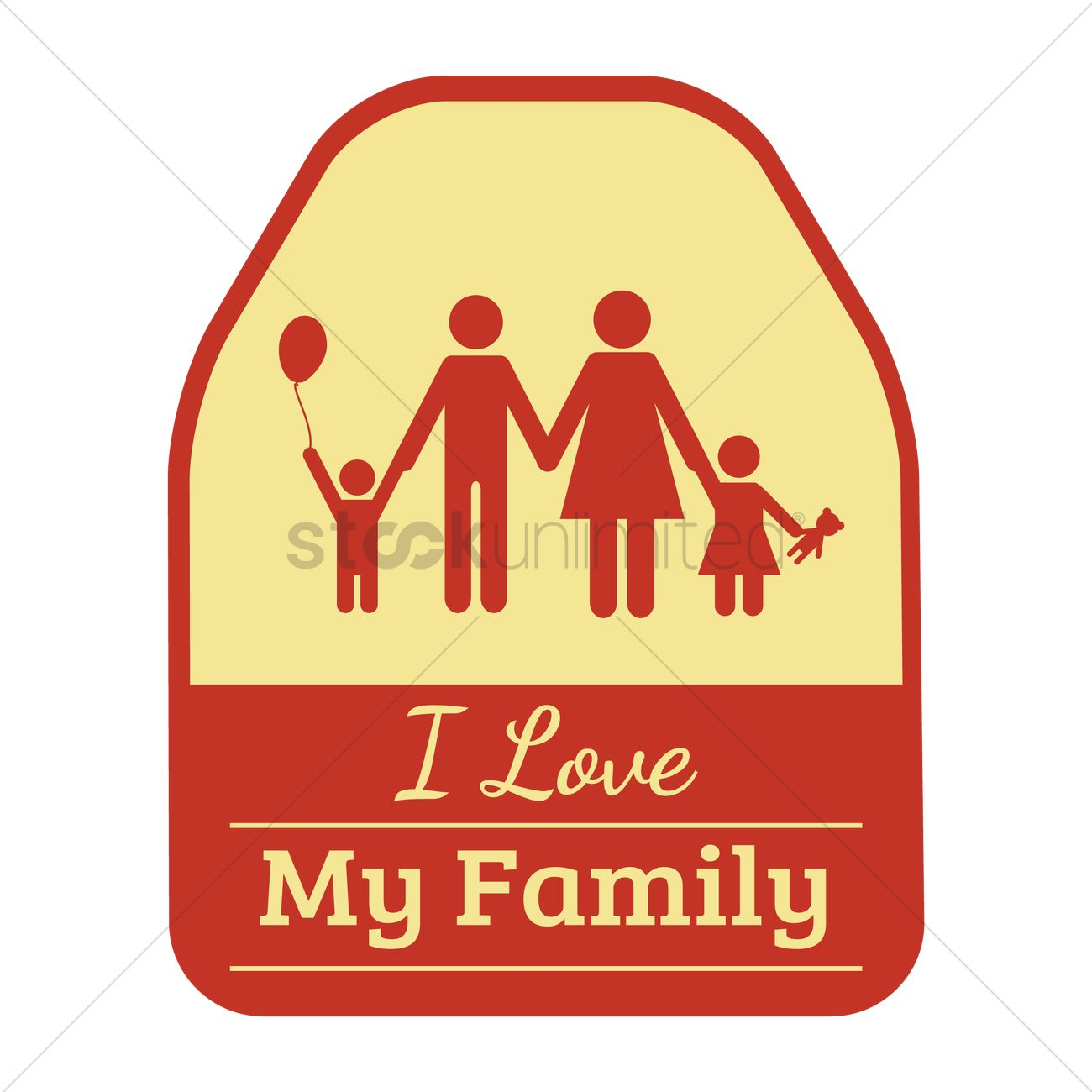 I Love My Family Sticker Vector Image 1795821 Stockunlimited