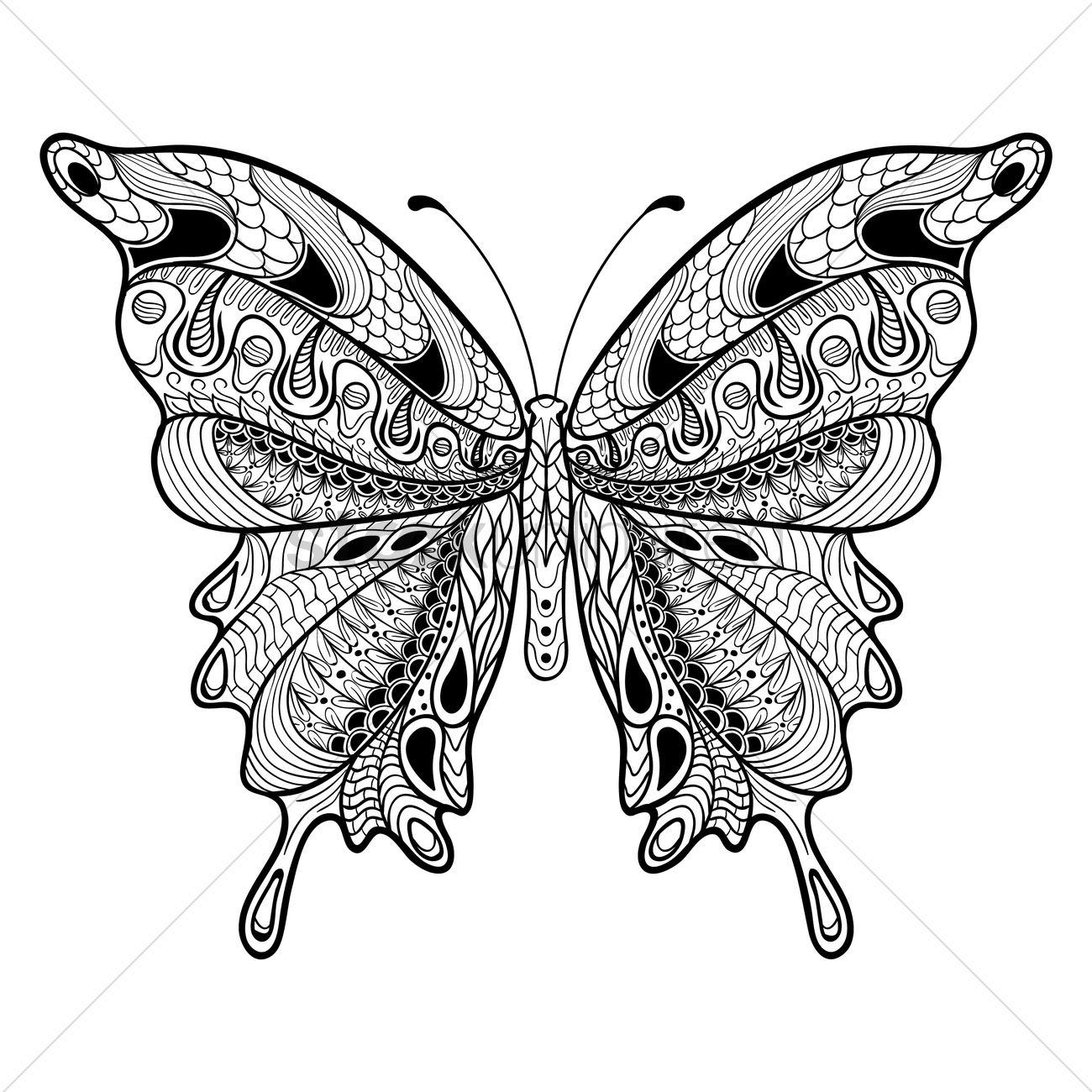 Vlinder Volwassen Kleurplaat Intricate Butterfly Design Vector Image 1999361