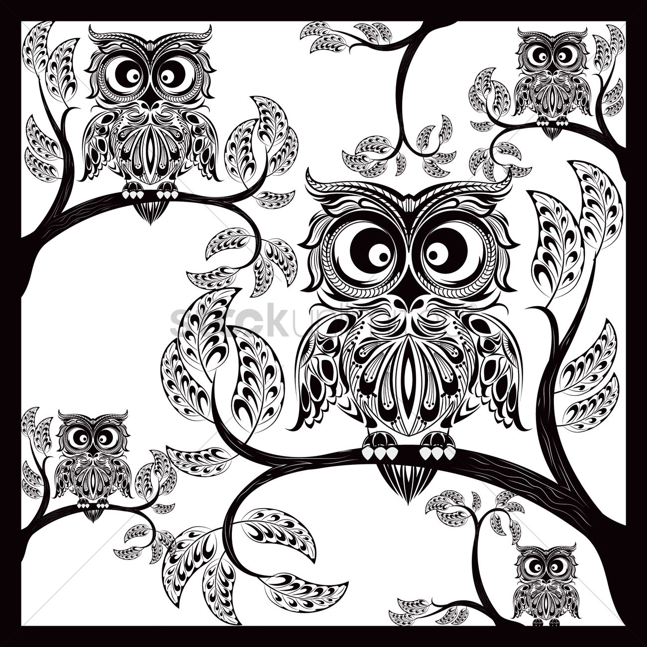 intricate owl design vector image 1616865 stockunlimited