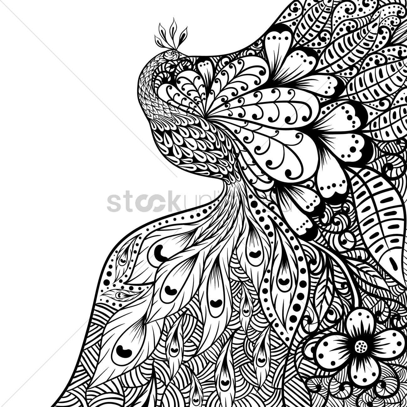Intricate peacock design vector graphic