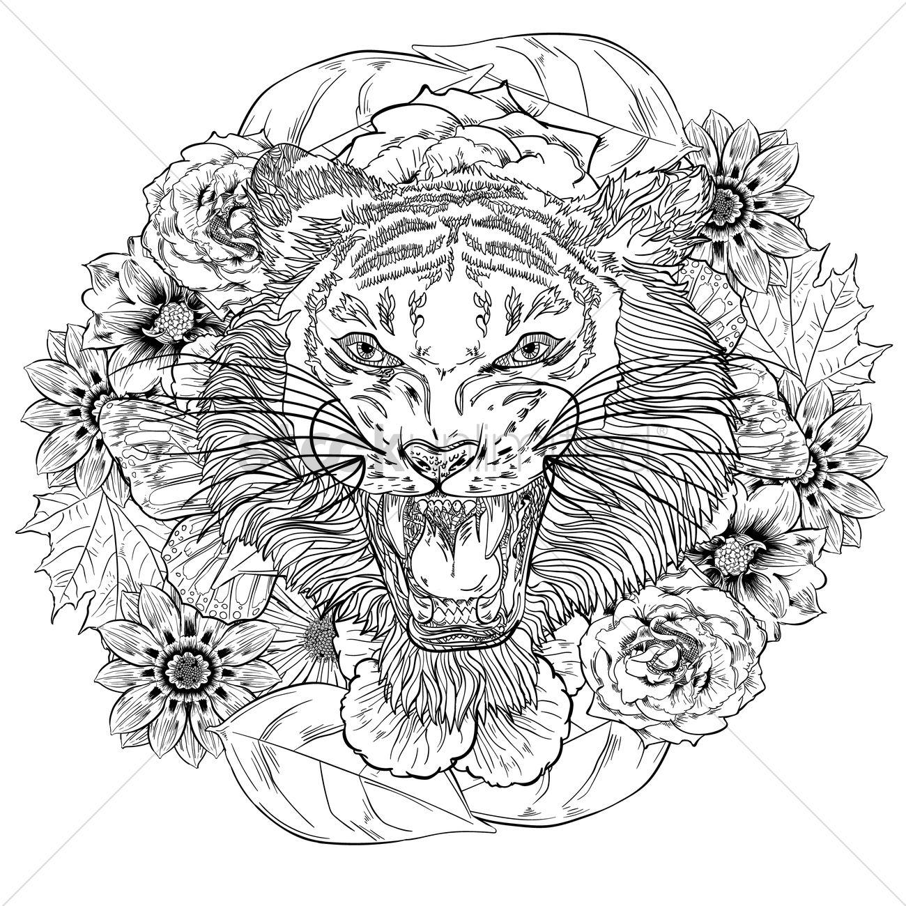 Volwassen Kleurplaten Tijger Intricate Tiger Design Vector Image 1994269 Stockunlimited