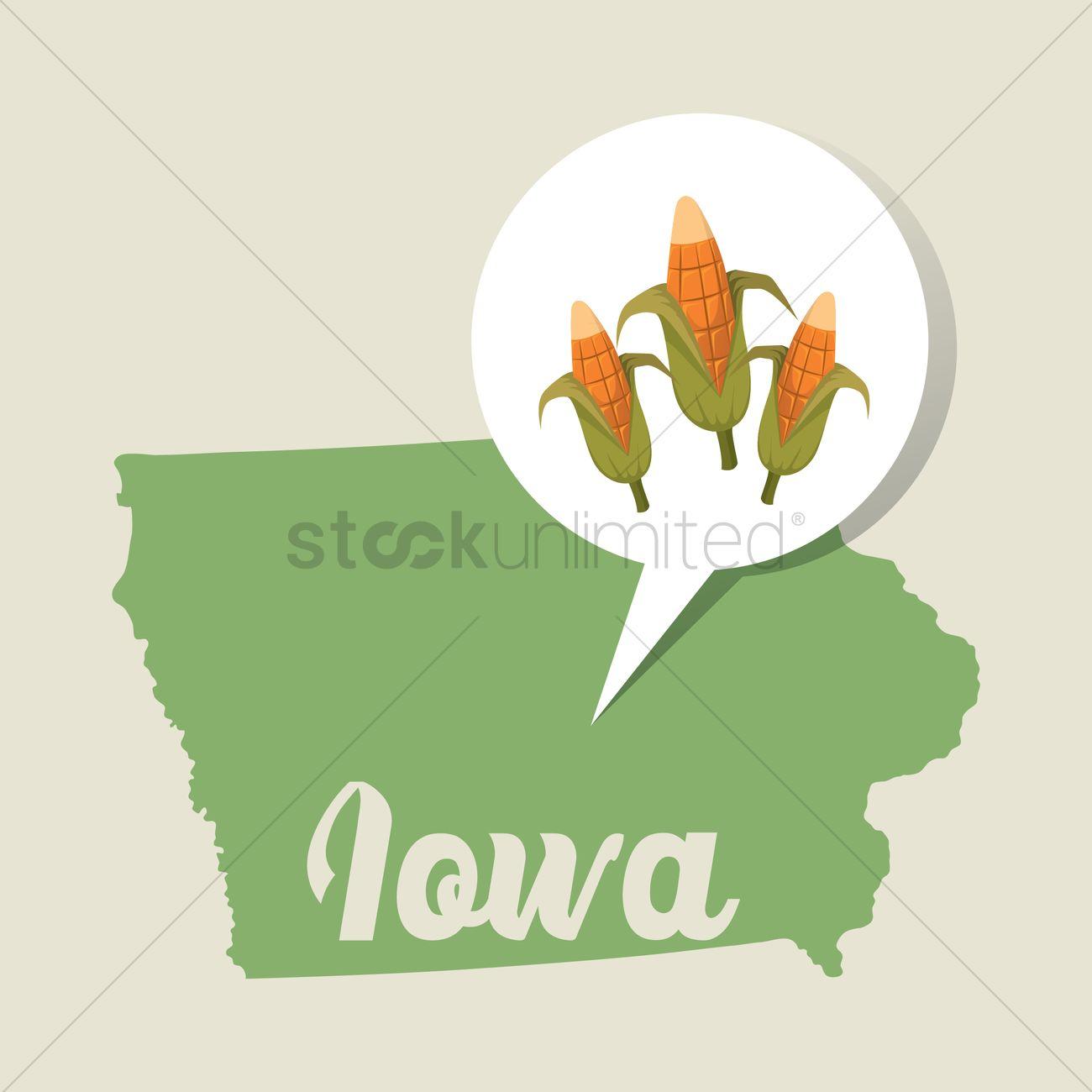 Iowa Map With Corn Field Icon Vector Graphic