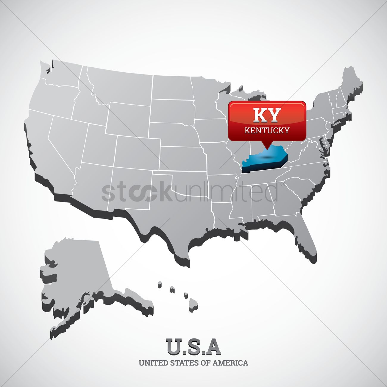 Kentucky state on the map of usa Vector Image - 1532661 | StockUnlimited
