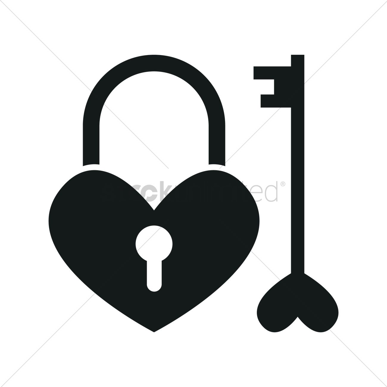 Key And Lock Heart Vector Image 1900601 Stockunlimited