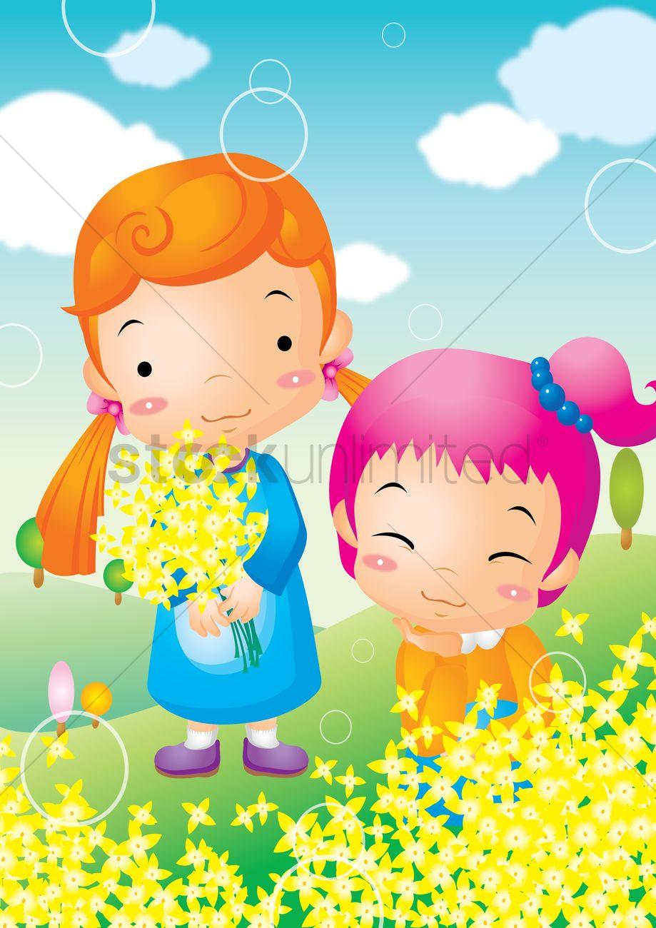 Flower garden cartoon - Kids Playing In Flower Garden Vector Graphic