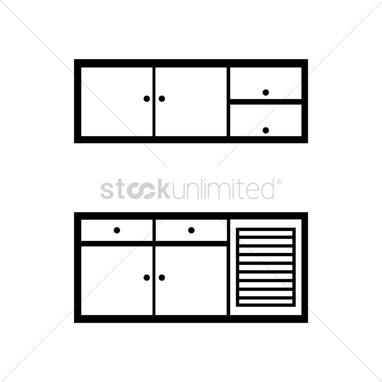 Kitchen cabinet vector image 1371961 stockunlimited for Kitchen design vector