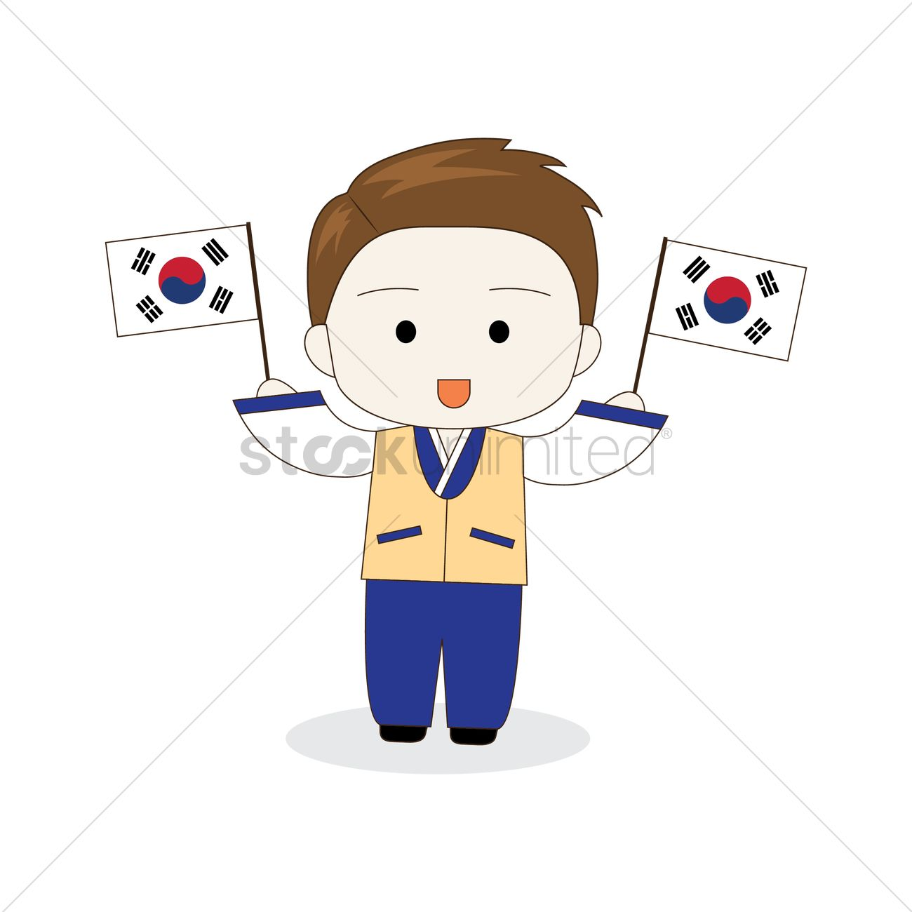 korean boy holding south korea flags vector image 2014049 rh stockunlimited com korean clipart cute clipart korean child