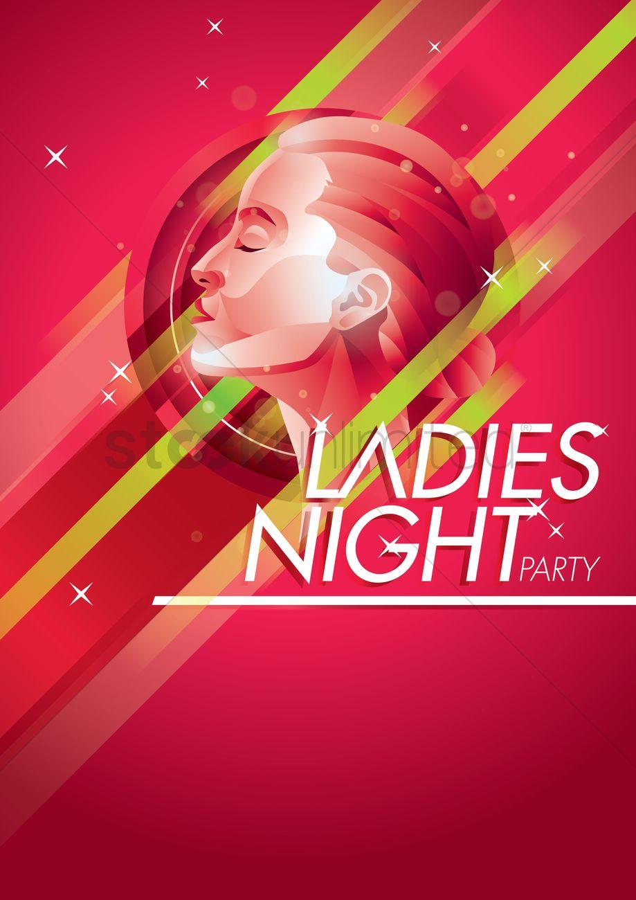 Ladies night poster design Vector Image - 1974861