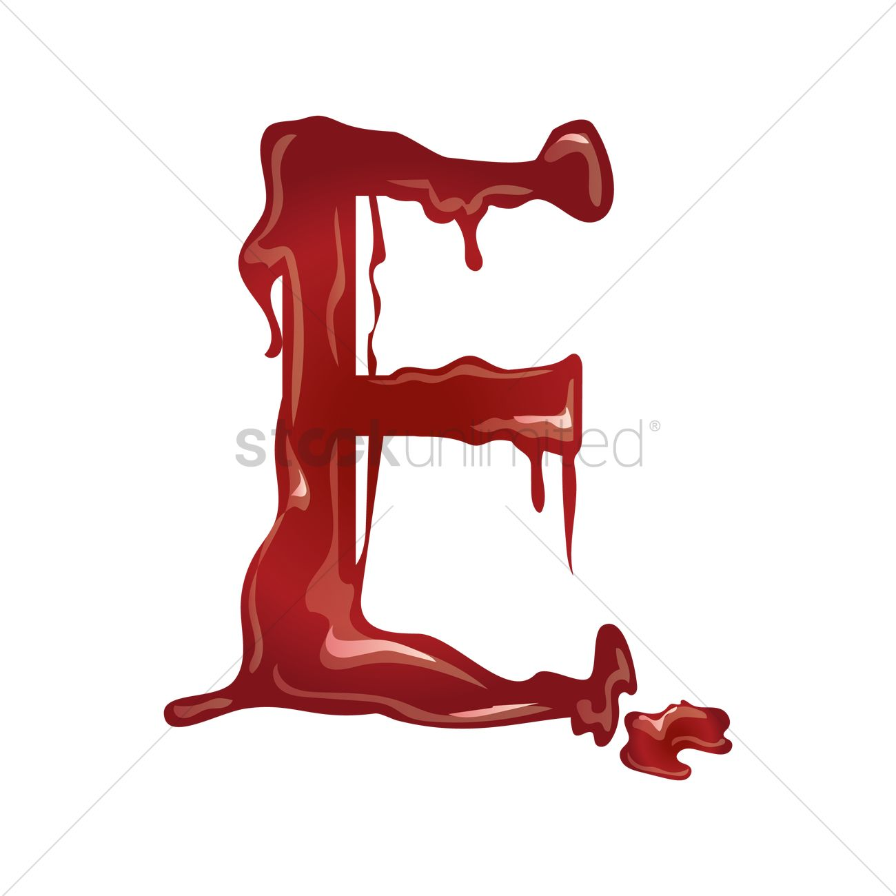 letter e with dripping blood vector graphic