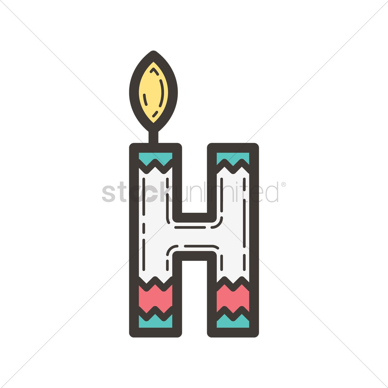 letter h in candle design vector image 1962557