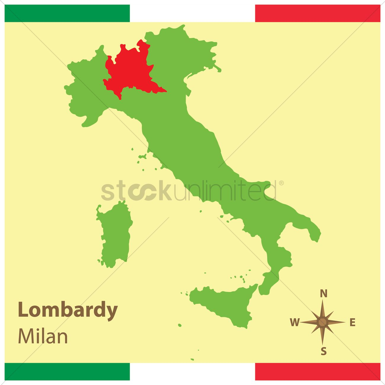 Lombardy On Italy Map Vector Image 1583937 Stockunlimited