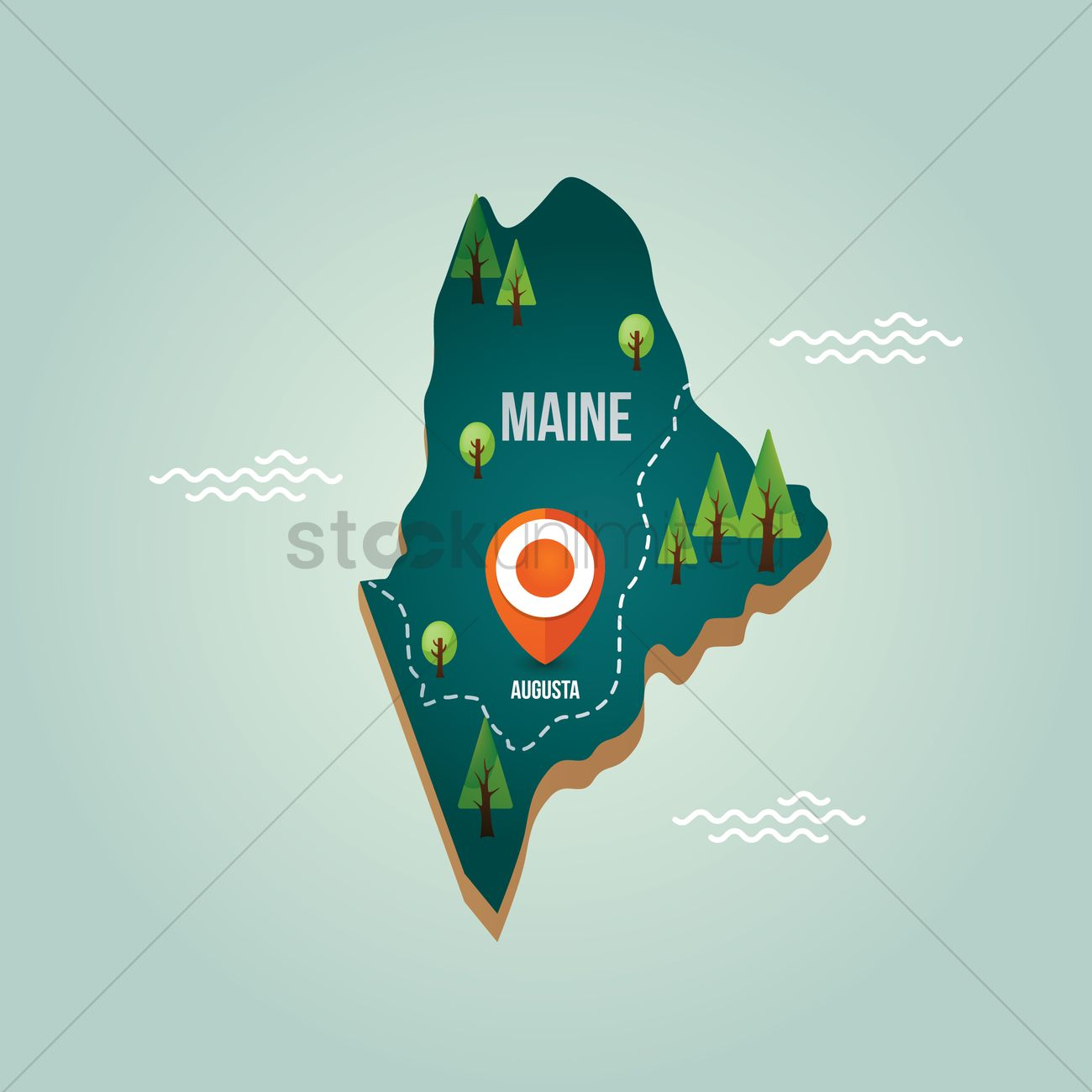 capital of maine map Maine Map With Capital City Vector Image 1536693 Stockunlimited capital of maine map