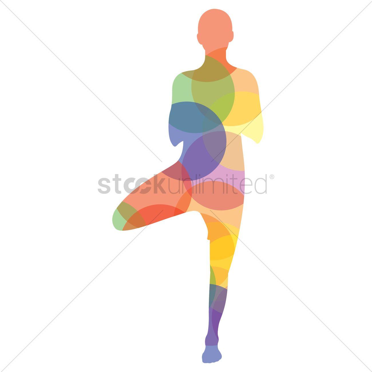 Man Silhouette Practising Yoga In Tree Pose Vector Graphic