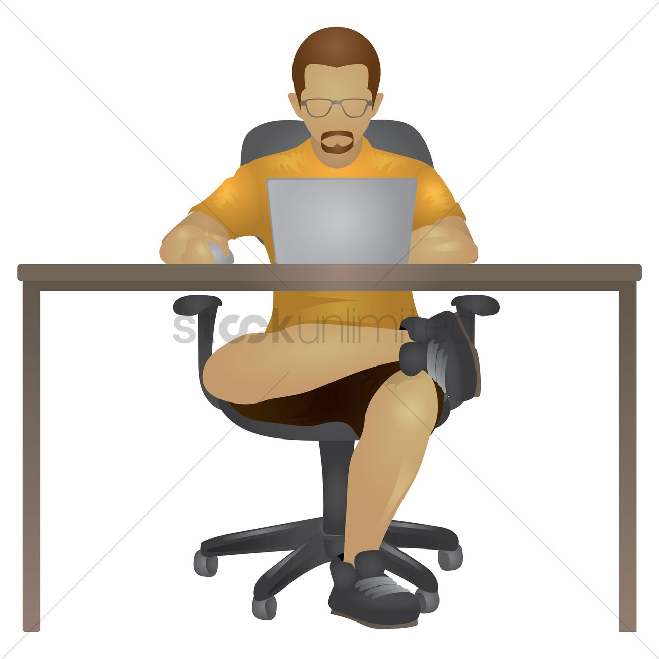 Man working on laptop Vector Image - 1698293 | StockUnlimited