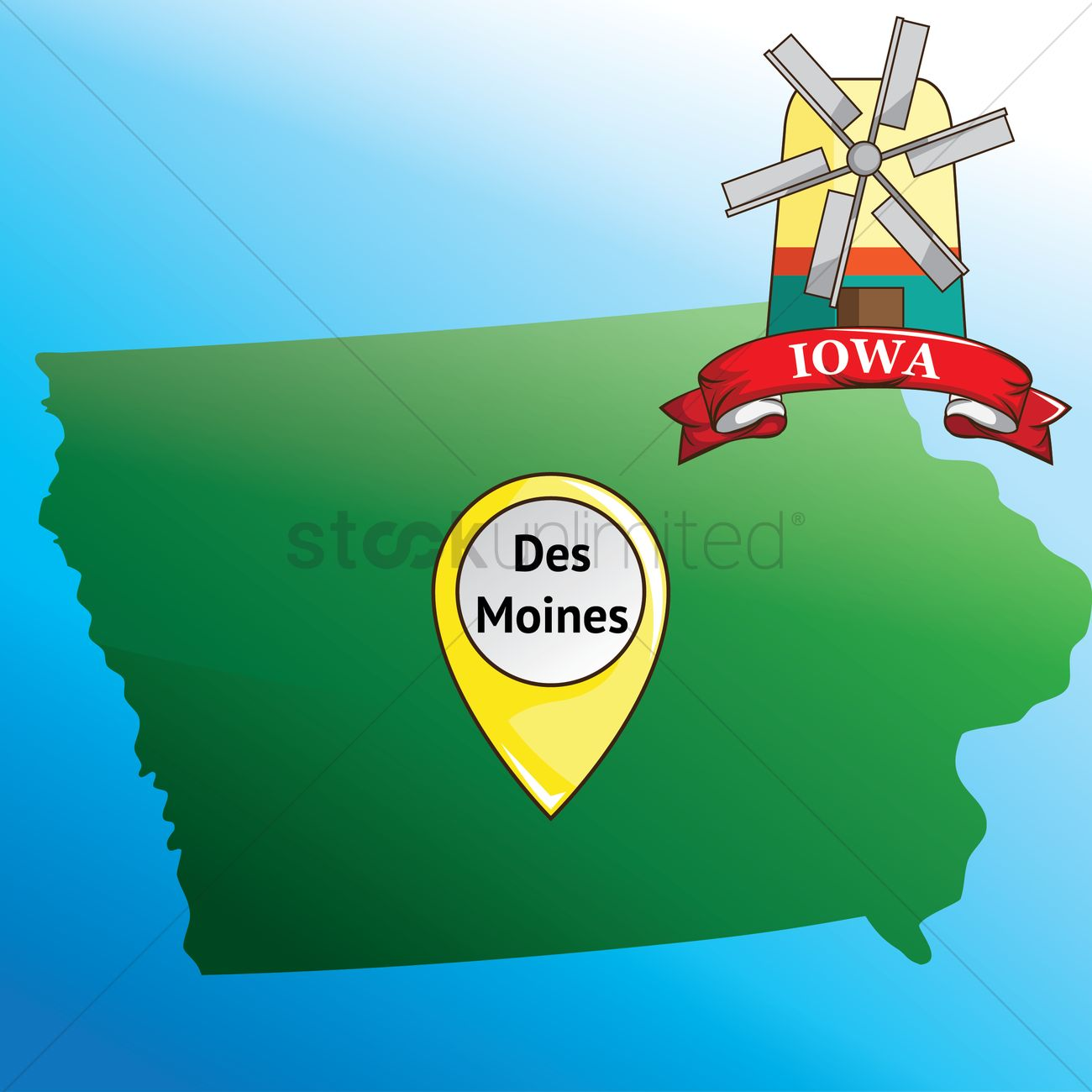 Map of iowa state with windmill Vector Image - 1534705 | StockUnlimited