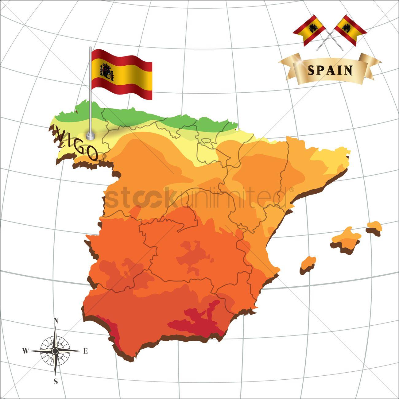 Map Of Spain Vigo.Map Of Spain With Vigo Vector Image 1597925 Stockunlimited